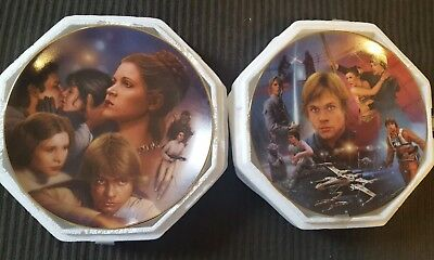 Princess Leia & Luke Skywalker Star Wars Plates Heroes & Villains Hamilton 1998