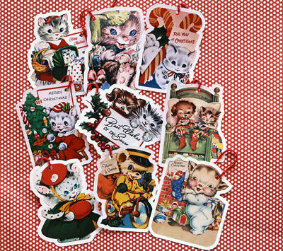9 Gift Tags~Christmas~Cats, Dogs & a Bear~Paper Ornaments~Vintage Card Images~