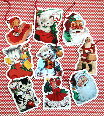 9 Gift Tags~Christmas~Nine Tags Set No 1~ Paper Ornaments~Vintage Card Images