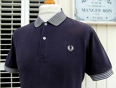 Fred Perry Navy Striped Collar Polo - L - Ska Mod Scooter Casuals Skins Workwear