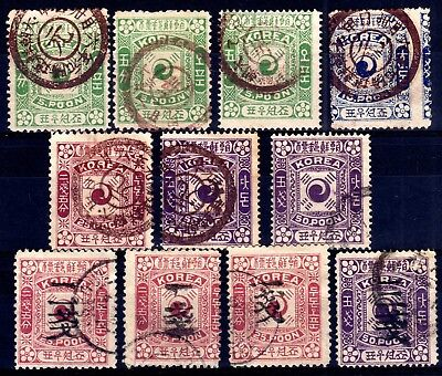 Korea Empire 1895-1903 Earlies Used Selection, 11 Stamps