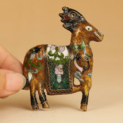 Antique Rare Collection chinese Old Cloisonne hand carving Deer statue figure