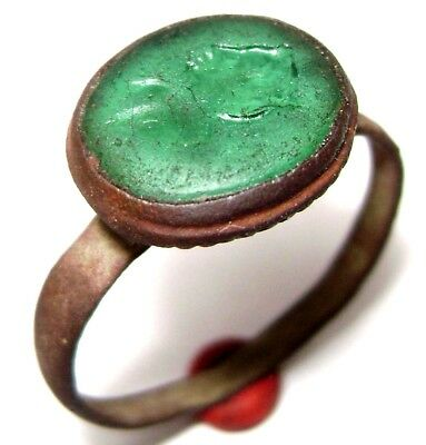 Ancient Medieval bronze ring seal with green stone. (GEM Female profile)