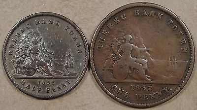 Province of Canada Tokens 1852 Half Penny(cleaned) and 1852 Penny as Pictured