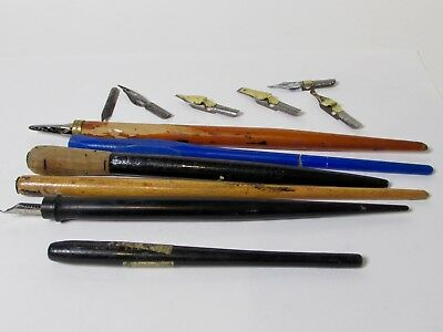 Mixed Lot Vintage Dip Pens Calligraphy Nibs Hardtmuth Speedball Wasp