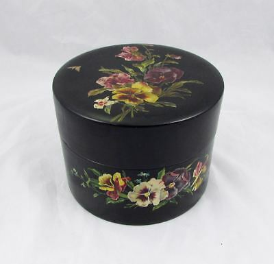 Antique English Victorian Ladies Collar Box Sewing Box Hand Painted Pansy