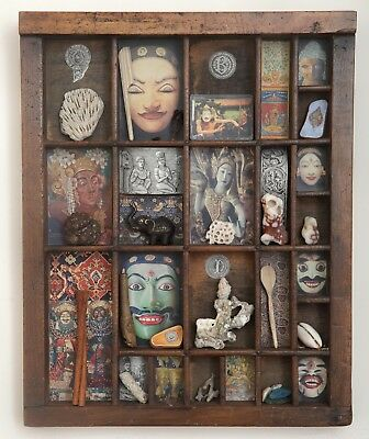 Vintage Small Wooden Printers Tray Artwork with Indonesian Bali Theme