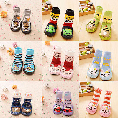 Newborn Baby Boy Girls Anti-slip Sock Shoes Cartoon Boots Slipper Socks 0-24M AB