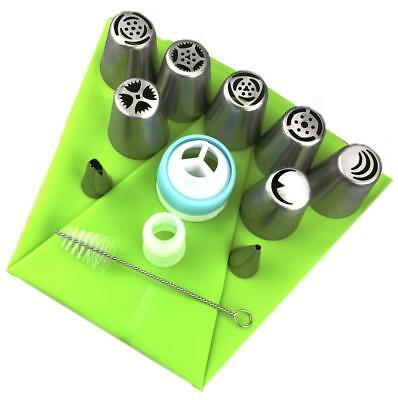 13X Russian Flower Cake Icing Piping Nozzles Decorating Tips Baking Tool Adapter