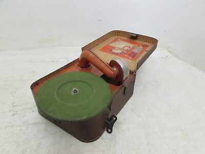 The National Band Leather Cased Child's Tin Plate Gramophone made in Germany