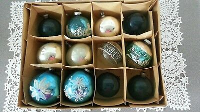 Vintage Shiny Brite And Poland Glass Mica/mercury Christmas Ornaments Lot Of 12