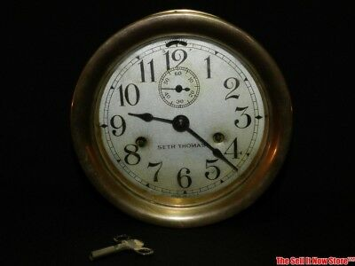 """Vintage Maritime Style Brass Ships Bell Wall Clock by Seth Thomas 7"""" Case w/ Key"""
