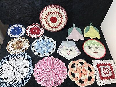 Vintage Hot Pads Pot Holders Doily LOT of 13 Handmade Crocheted Kitchen Textiles
