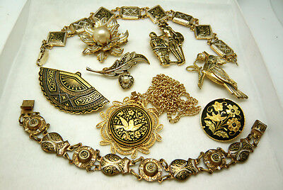 Vintage Jewellery Mixed Job Lot Of Damascene/toledo Brooches Pendant Bracelets