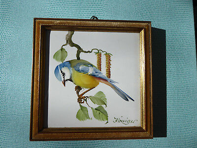 Königer Hand Painted Blue Tit - Framed Porcelain - Bristolia Foreign West German