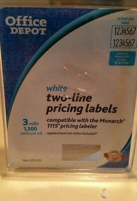 Office Depot White Two-line Label 3 Rolls 1,500 Labels Per Roll NEW 525-255