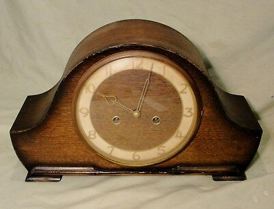 1930s MANTEL CLOCK by SMITHS with CHIMES  in OAK CASE in very good working condt