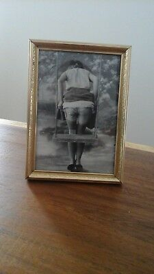 """Adorable Antique frame and black & white print of a woman 5"""" x 7"""""""