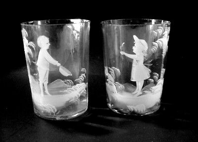 Mary Gregory, American(1856–1908) Victorian: Pair Of Juice Glasses