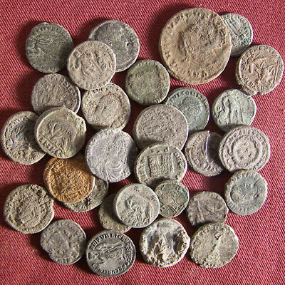 Lot of 30 Uncleaned/ Semi- cleaned Late Roman Bronze Coin