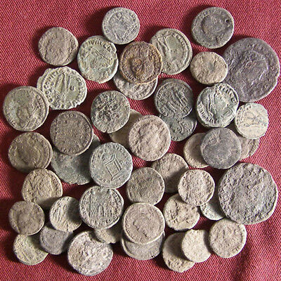 Lot of 45 Uncleaned/ Semi- cleaned Late Roman Bronze Coin