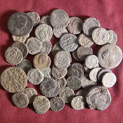 Lot of 50 Uncleaned/ Semi- cleaned Late Roman Bronze Coin