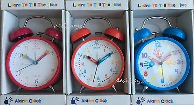 Children Kids Nursery Learn To Tell The Time Alarm Clock Easy to Read Red Blue