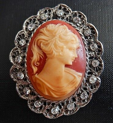 Vintage Large Cameo With Clear Rhinestones Silver-Tone Metal Brooch