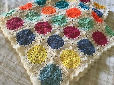 """Hand Crochet Baby Blanket New - Bright Circles (37"""" by 37"""") Soft and Snuggly"""