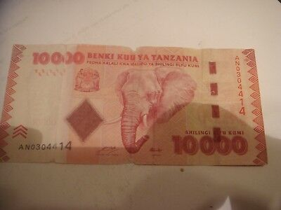Tanzania 10,000 Shillings  Elephants nice note cheap see scan