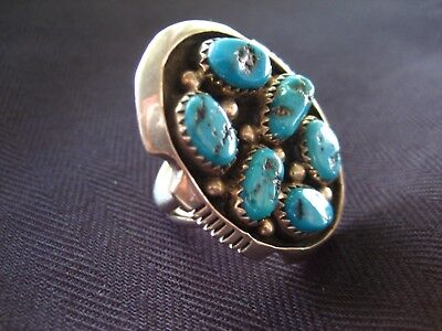 Navajo Sterling Ring with Turquoise signed HY