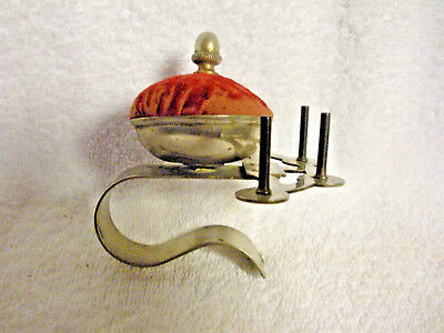 Vintage Sewing Pin Cushion On Metal Clip With Four Spool Holders