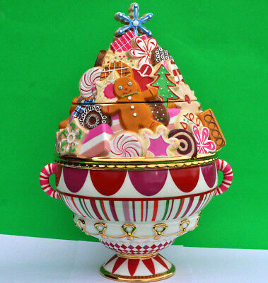 """Glitterville XMAS COOKIE JAR by Dept 56 Gingerbread Anniversary Edition RARE 13"""""""
