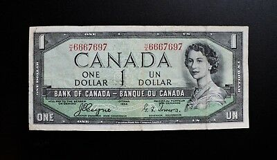 1954 BANK OF CANADA $1 DEVIL'S FACE H/A Prefix With Devil Serial *666* BC-29a