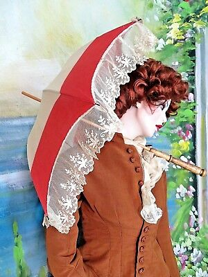 ANTIQUE Victorian PARASOL umbrella CARRIAGE  doll Pram LINEN embroidered LACE