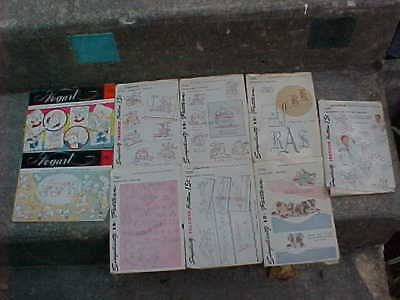 LOT of 9 vintage transfer patterns - DAYS of WEEK - towels - pillowcases - baby