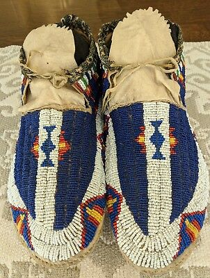 Sioux Beaded Native American Indian Hightop Moccasins