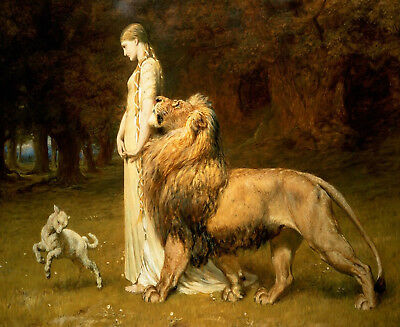 Vintage Oil Painting Print On Canvas Fairy Queen Una Lion Lamb Ready to Hang