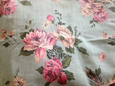 Beautiful pair vintage floral drapes pink roses similar to barkcloth