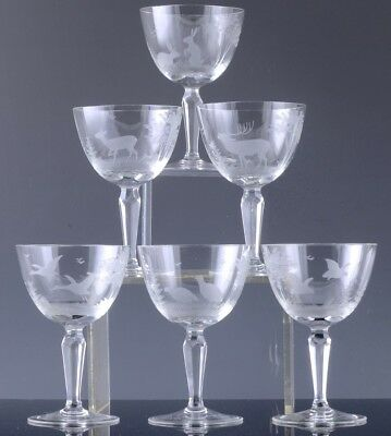 6 Incredibly Finely Cut Antique Bohemian Crystal Wine Glasses Birds Deer Rabbits