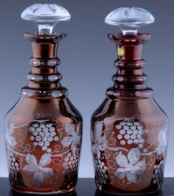 Gorgeous Pair Bohemia Crystal Czech Glass Ruby Red Etched Wine Whiskey Decanters
