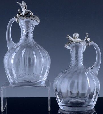 Exquisite Figural Bird & Snail Silver Plate & Glass Oil & Vinegar Cruet Pitchers