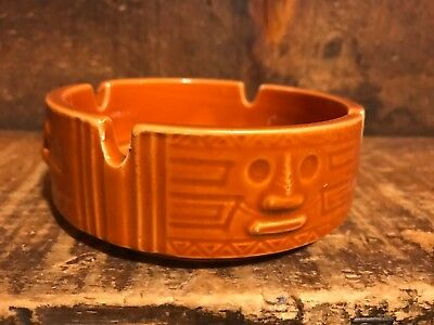 Vintage Mid Century Modern Westwood Tiki Orange Ashtray JAPAN