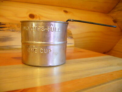 """Vintage Aluminum Flour Sifter One & Two Cups-Full Made In U.s.a.  3"""" Tall"""