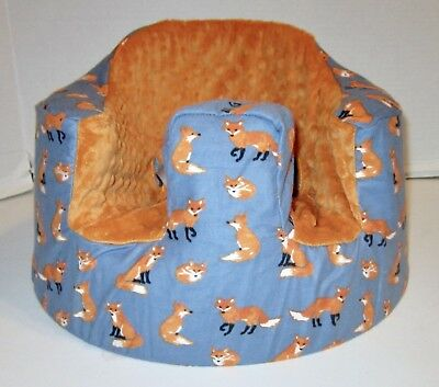 New Bumbo Floor Seat COVER • Fox w/Blue Background • Safety Strap Ready