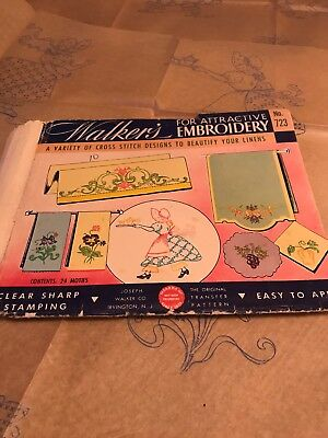 Walkers Vintage Embroidery Transfer 723. Uncut, 2 Sheets. Towels & More