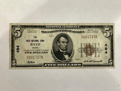 1929 $5 National Bank Note Bath National Bank Maine #494  in F+  BDP29
