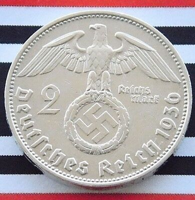 GERMAN Coin 1936 D 2 MARK Reichsmark SWASTIKA Hindenburg Silver 3RD WW2 +RARE+