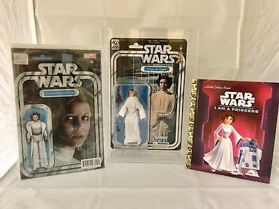 Star Wars Princess Leia 40th Anniversary Action Figure in custom case & 2 books