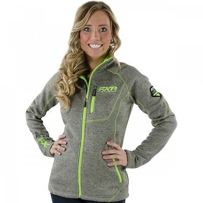 FXR WOMENS LADIES ELEVATION SWEATER ZIP UP - Charcoal Mix/Lime - SIZE 16 - New
